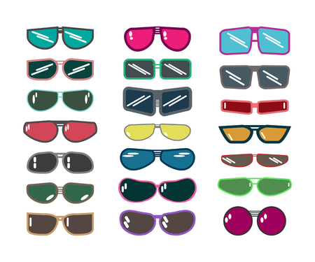 set of sunglasses. Vector illustration on white background