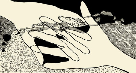 Abstract black and white illustration with hands. hand-drawn vector Standard-Bild - 124654396