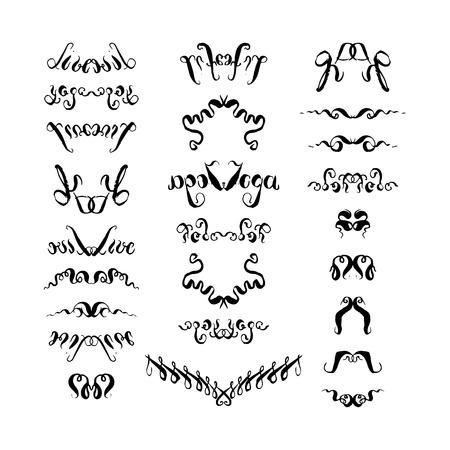 Handgetekende set decoratieve elementen. vectorillustratie op witte achtergrond Vector Illustratie