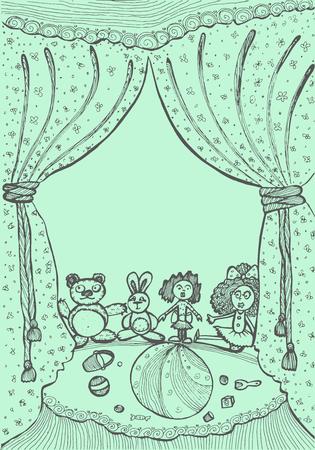 toys in the children's room. illustration for children's books. hand-drawn vector illustration