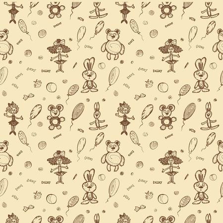 Children's toys seamless pattern. hand-drawn vector illustration Standard-Bild - 124607488