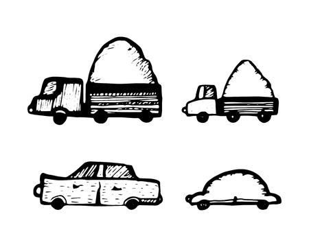 set of toy cars. hand-drawn vector illustration on white background Illustration