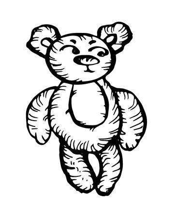bear character. hand-drawn vector illustration on white background Illustration