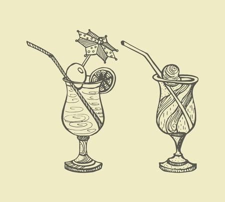set of glasses with cocktails. Hand-drawn graphic vector illustration on beige background. Illustration