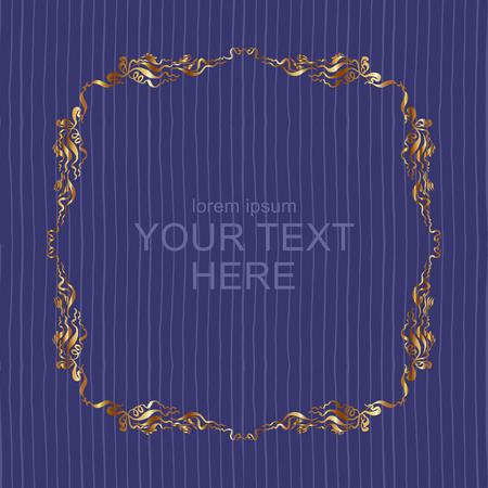 Fond rayé sans couture avec cadre doré vintage dessiné à la main et place pour le texte. modèle vectoriel pour la couverture, l'invitation ou la carte de voeux