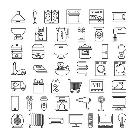 household appliances set of icons. outline vector illustration on white background