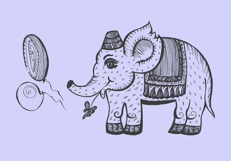 elephant character. Hand-drawn graphic vector illustration for childrens book. Иллюстрация