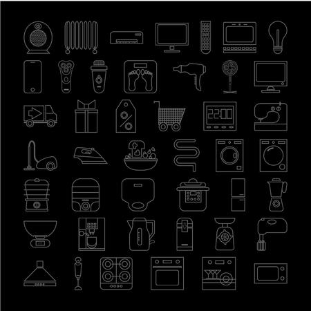 set of home appliances icons. outline vector illustration on black background