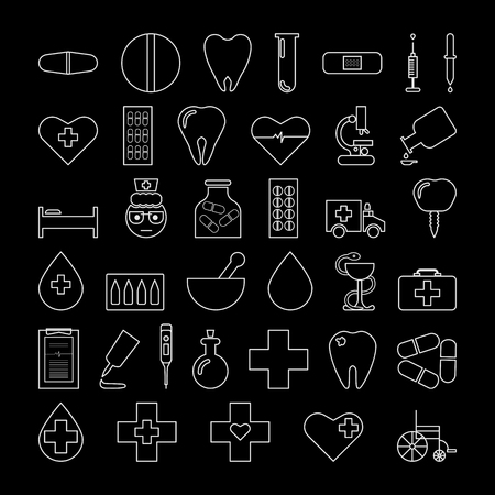 Set of medical icons. Vector illustration on black background.