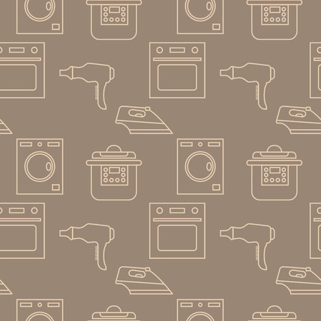 household appliances seamless pattern. vector outline illustration on brown background