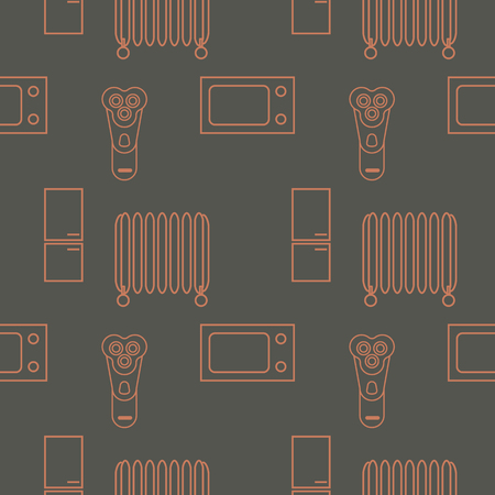 household appliances seamless pattern. vector outline illustration on gray background