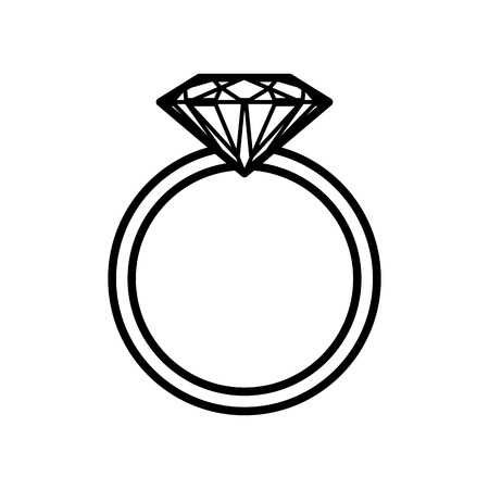 diamond ring icon. Vector black and white outline illustration.