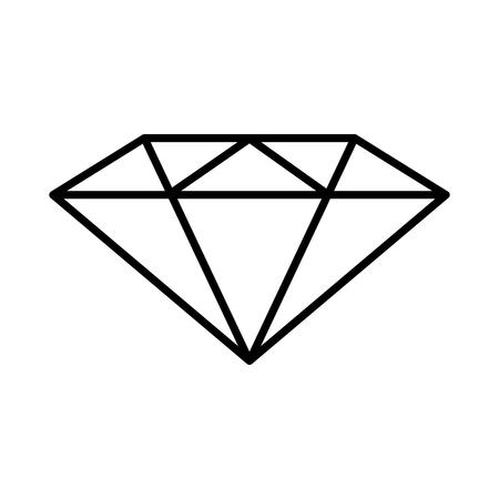 diamond icon. Vector black and white outline illustration. Ilustrace