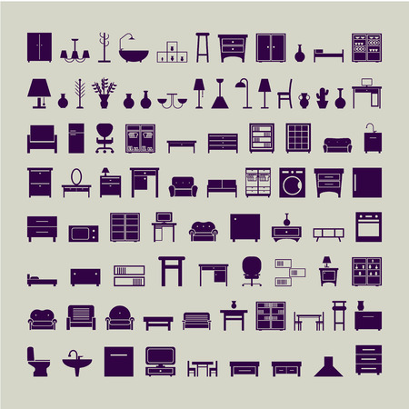 furniture icons set. vector illustration on gray background