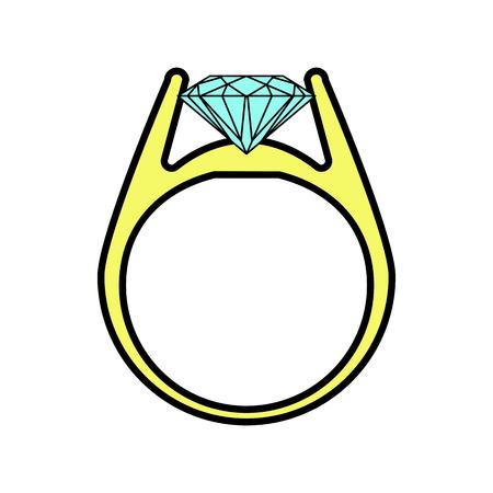 diamond ring icon. vector illustration on white background 向量圖像