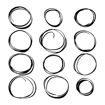 hand-drawn circles. painted marker black and white vector illustration