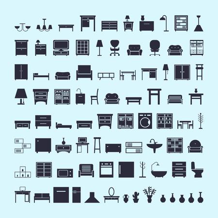 zestaw ikon mebli. ilustracja wektorowa na niebieskim tle
