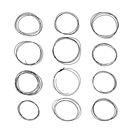 hand-drawn circles. black and white vector illustration