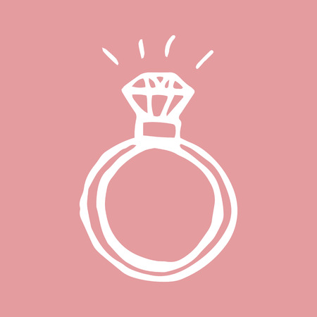 diamond ring hand drawn icon. vector illustration on pink background