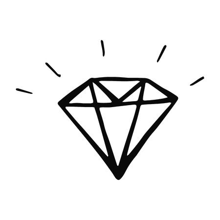 diamond hand-drawn icon. Black and white vector illustration. Ilustrace