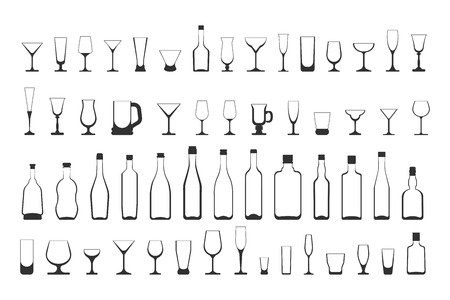 wine glasses and bottles set. vector illustration on white background