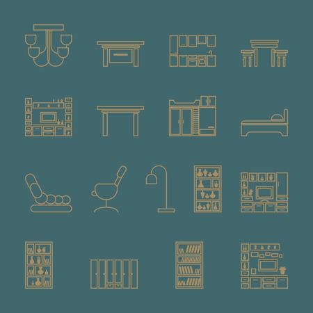 Ensemble d'icônes de meubles. contours, vecteur, illustration, sur, a, fond turquoise Vecteurs