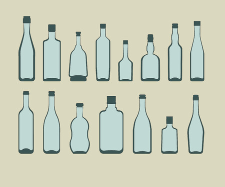 alcohol bottles set. color vector illustration on beige background