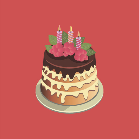 Cake with cream. colorful vector illustration on red background