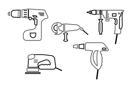 power tools icons set. Contour black and white vector illustration