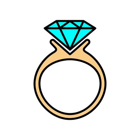 icono de anillo de diamantes. Ilustración vectorial sobre fondo blanco