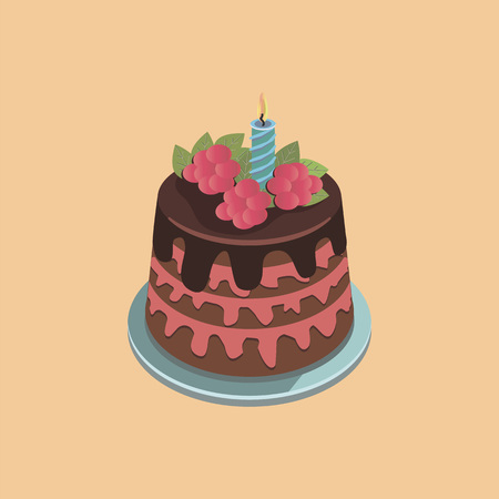Cake with cream. colorful vector illustration on light orange background