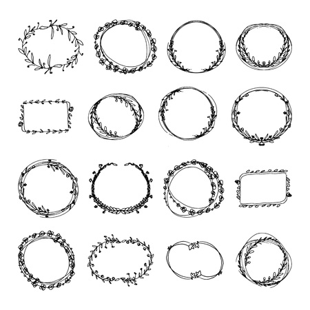 Dibujado a mano doodle conjunto de marcos florales. ilustración vectorial en blanco y negro