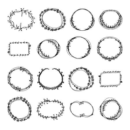 Hand drawn doodle floral frames set. black and white vector illustration