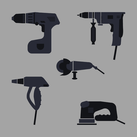 power tools icons set. silhouette vector illustration on gray background.