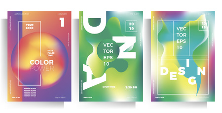 set of poster templates, flyers for events, parties, concerts. modern multicolor vector illustration