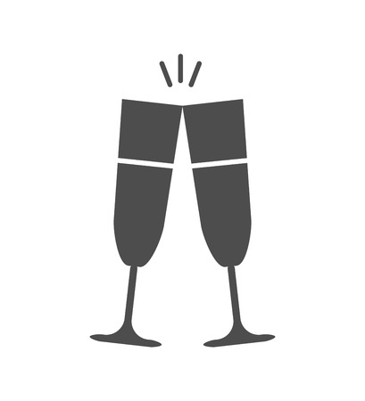 glasses of champagne icon. vector black and white illustration