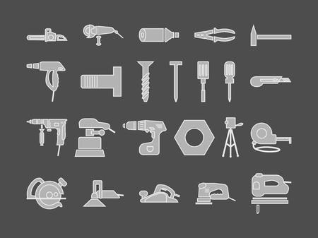 power tools for repair set of icons. silhouette vector illustration on gray background Vektoros illusztráció
