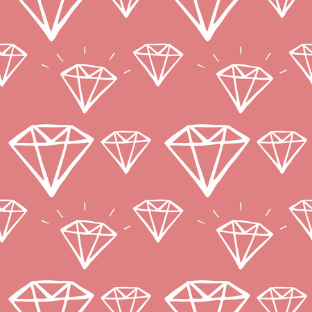 diamond hand drawn seamless pattern. vector illustration on pink background