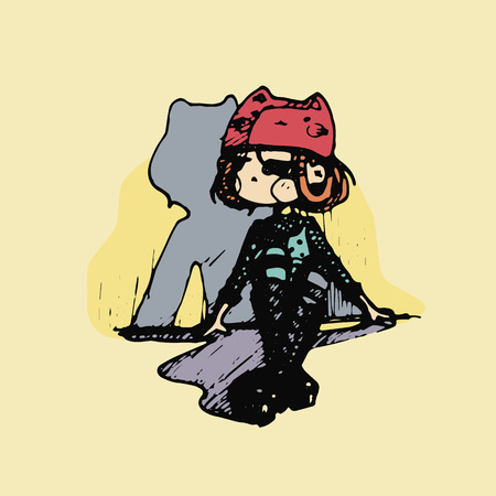 teenage girl in cute animal costume cartoon style. Hand-drawn multicolored vector illustration. Ilustração