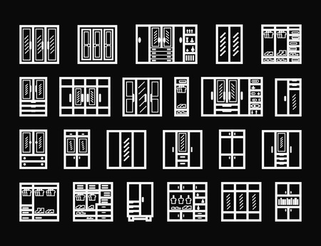 Schränke-Icon-Set. Vektorillustration auf schwarzem Hintergrund Vektorgrafik