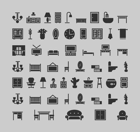 meubels pictogrammen instellen. vectorillustratie op grijze achtergrond