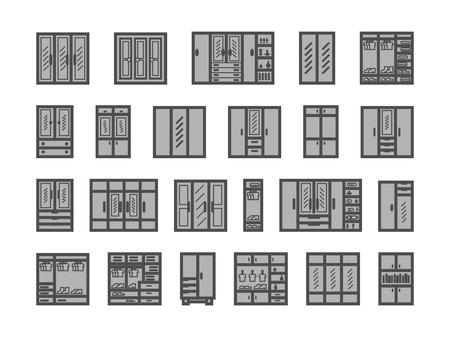 armadio, credenza, armadio, set di icone libreria. mobili per la casa. Illustrazione vettoriale su sfondo bianco
