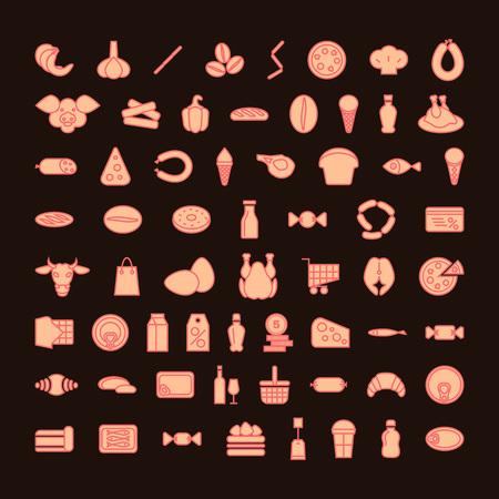 groceries set of icons. color vector illustration. Illustration