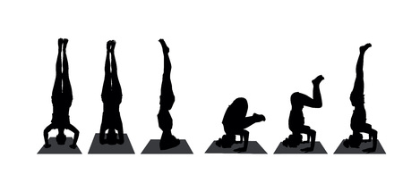 Yoga pose headstand silhouettes set. vector illustration isolated on white background