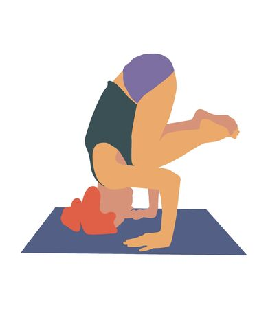 Yoga pose headstand. color vector illustration isolated on white background