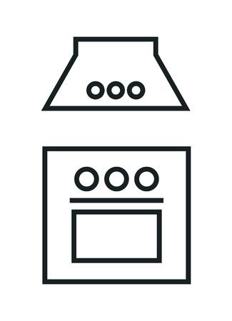 kitchen icon. vector contour illustration isolated on white background.