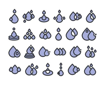 Water drops icons . Vector color illustration isolated on white.
