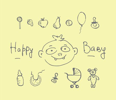 Baby icons hand drawn doodle set. Vector outline isolated illustration Standard-Bild - 128031557