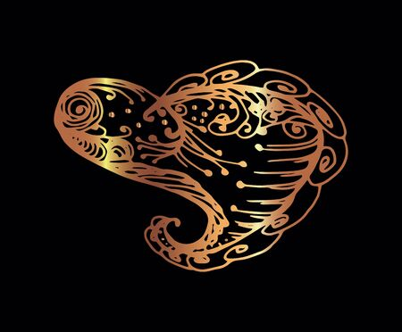 Golden heart for Valentines day. Hand-drawn vector isolated illustration on black background.  イラスト・ベクター素材