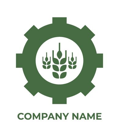 Green vector agro icon. Template for your company logo. Isolated illustration on white. Illusztráció